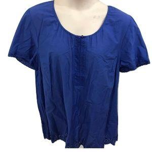 Liz Me 1X Blue Peasant Top Tunic Plus Size 18W 20W
